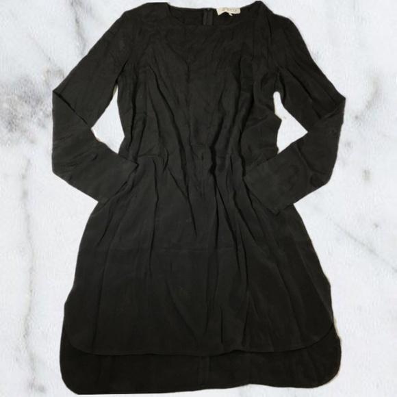 Wayf Dresses Black Flowy Long Sleeve Shirt Dress Poshmark